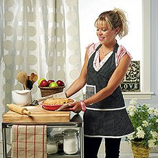 Retro Style Mini Dot Apron with V-Neck