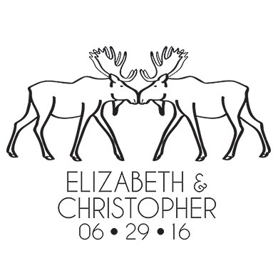 Woodland Style Moose Personalized Rubber Stamp