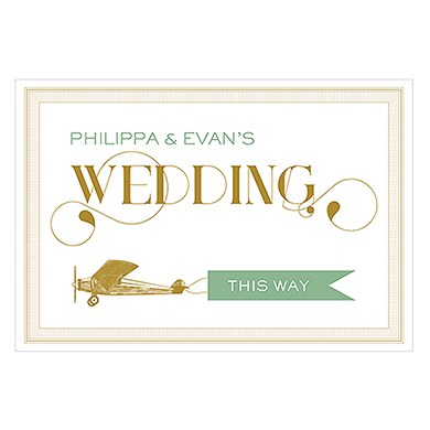 Vintage Travel Wedding Directional Sign