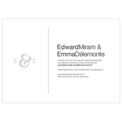 Monogram Simplicity Invitation   Simple Ampersand
