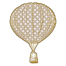 Vintage Travel Round Hot Air Balloon Diecut Sticker