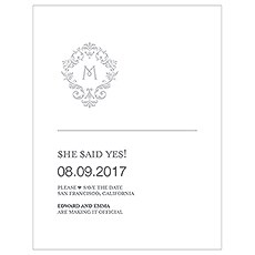 Monogram Simplicity Save The Date Card - Classic Filigree