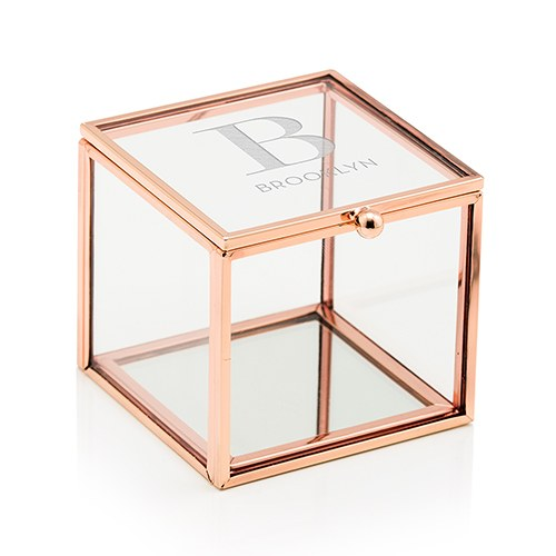 Rose gold and glass jewelry box modern serif initial for Jewelry box with initials