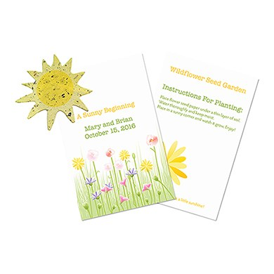 A Sunny Beginning Wedding Favor Card with Seed Paper Sun