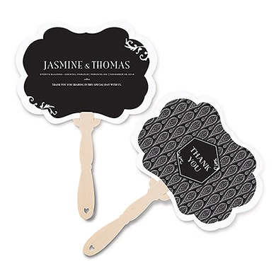 Black and Gold Opulence Hand Fan Insert