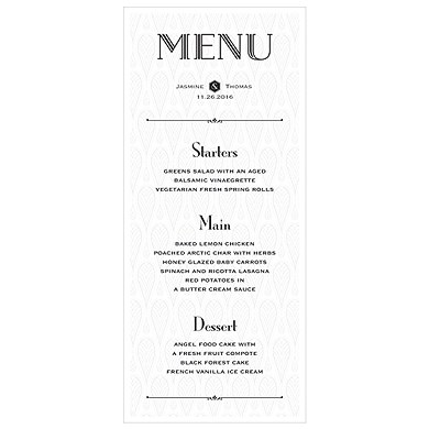 Black and Gold Opulence Menu Card