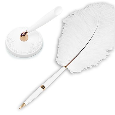 Traditional Wedding Guestbook Plume Feather Pens