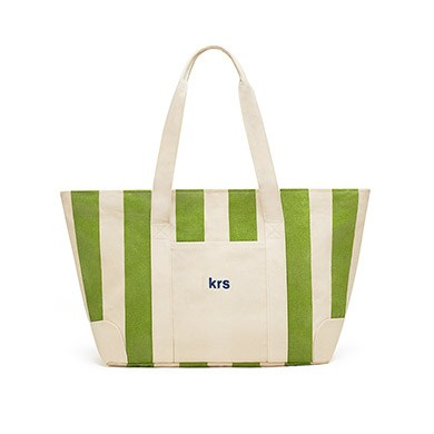 Large Striped Canvas Tote Bag Green