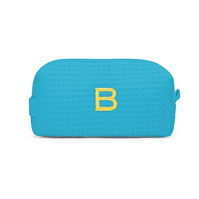 Small Cotton Waffle Cosmetic Bag Turquoise