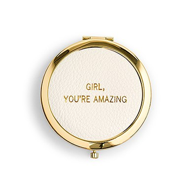 Faux Leather Compact Mirror You're Amazing Emboss