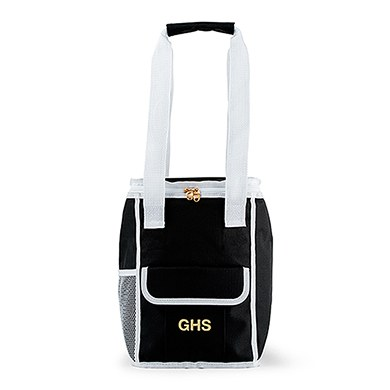 On The Go Cooler Bag Black & White Stripes