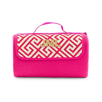 On The Go Picnic Mat Pink & White Greek Key
