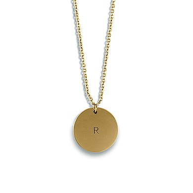 Circle Tag Necklace   Matte Gold