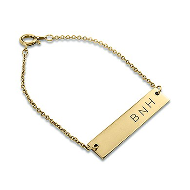 Horizontal Rectangle Tag Bracelet   Matte Gold