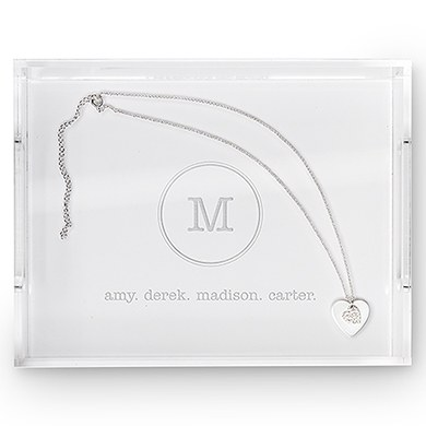 Rectangular Acrylic Tray - Typewriter Monogram Etching