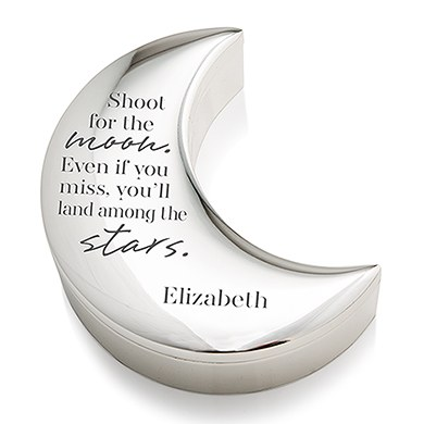 Personalized Silver Half Moon Jewelry Box - Shoot for the Moon Etching