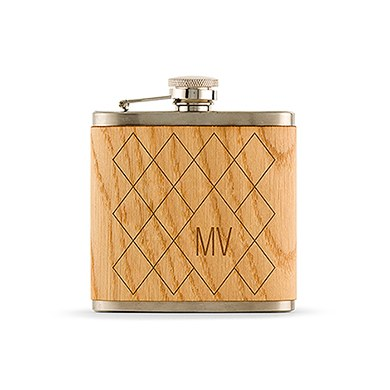 Wood Wrapped Flask Argyle Monogram Etching