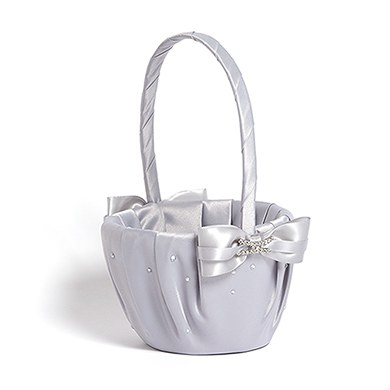 Ceremony Accessory Flower Girl Basket in Platinum