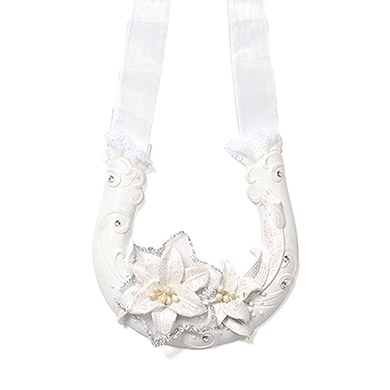 Sculptural White Tiger Lilies Lucky Wedding Horseshoe Gift