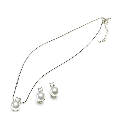 White Pearl with Crystal Wedding  Bridal Party Jewelry