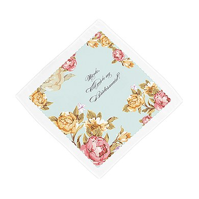 Tea Rose Personalized Wedding Hankerchief
