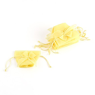 Organza Drawstring Wedding Favor Bags with Decorative Bow - Lemon Yellow