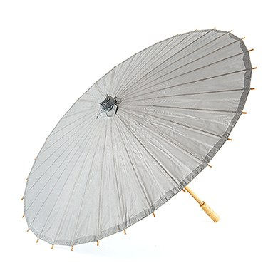 Paper Parasol with Bamboo Boning - Silver