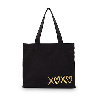 XOXO Black Cotton Canvas Tote Bags