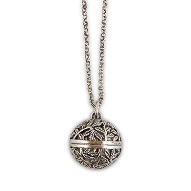 Filigree Vine Orb Locket with Chain
