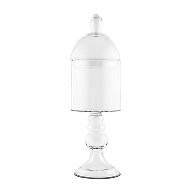 Decorative Apothecary Jar in Clear Glass   Straight Sided Bowl on Pedestal with Lid