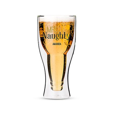 Double Walled Beer Glass - Mrs. Naughty Printing