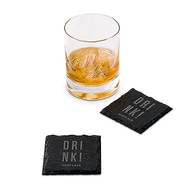 Set of Square Slate Coasters - Drink! Etching