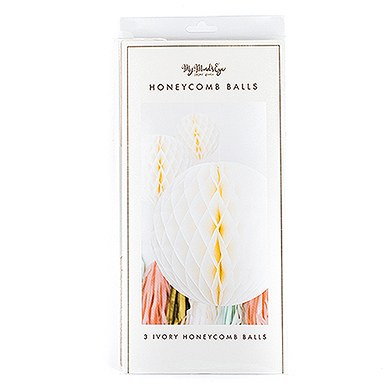 Honeycomb Tissue Paper Balls Assortment - Ivory