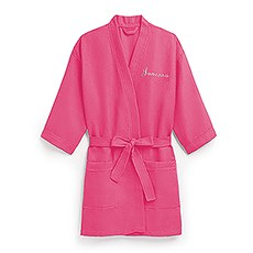 Women's Personalized Embroidered Waffle Spa Robe - Fuchsia / Hot Pink