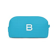 Small Cotton Waffle Cosmetic Bag - Turquoise