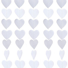 Mini Paper Heart Banner - White