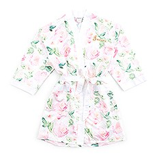 Petite Watercolor Floral Silky Kimono Robe on White
