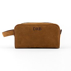 Tanned Genuine Leather Travel Toiletry Bag - Personalized