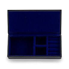 Vegan Leather Jewelry Box - Black with Dark Blue