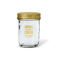 Glass Mason Jar with Gold Lid Favor