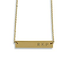 Horizontal Rectangle Tag Necklace - Matte Gold