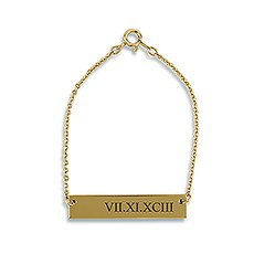 Horizontal Rectangle Tag Bracelet - Roman Numerals