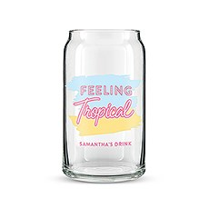 Personalized Can Shaped Drinking Glass – Feeling Tropical Print