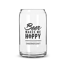 Beer Can Shaped Glass Personalized - Beer Makes Me Hoppy Printing