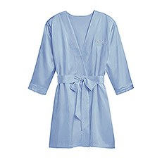 Women's Personalized Embroidered Satin Robe With Pockets- Periwinkle / Light Blue