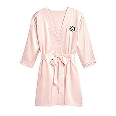 Women's Personalized Satin Robe with Pockets - Blush Pink