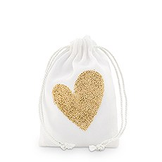 Gold Glitter Heart Muslin Drawstring Favor Bag - Small