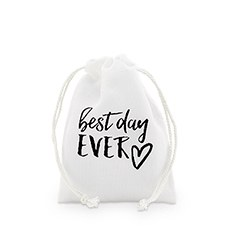 """best day ever"" Print Muslin Drawstring Favor Bag - Small"