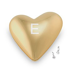 Gold Modern Heart Jewelry Box - Single Initial Etching