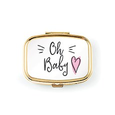 Oh Baby Small Gold Keepsake Tooth Box - Pink Heart